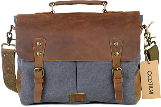 Gootium Canvas Leather Messenger Bag