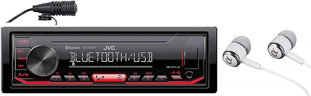 JVC KD-X260BT Built-in Bluetooth, AM FM, USB, MP3, Pandora, Spotify, iHeartRadio Digital media receiver, Works with Apple and Android Phones