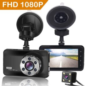 ORSKEY Dash Cam Front and Rear 1080P Full HD Dual Dash Camera in Car Camera Dashboard Camera Dashcam