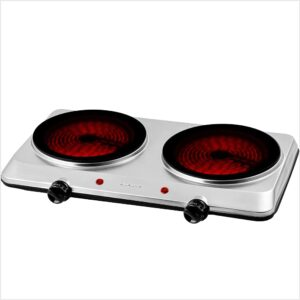 Ovente 1500W Double Hot Plate Electric Countertop Infrared Stove