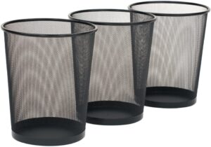 Seville Classics 3-Pack Round Mesh Wastebasket Recycling Bin