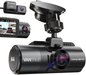Vantrue N4 3 Channel 4K Dash Cam, 4K+1080P Front and Rear, 4K+1080P Front and Inside, 1440P+1080P+1080P Three Way Triple Car Camera