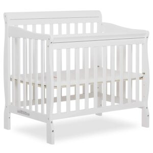 Dream On Me Aden 4-in-1 Convertible Mini Crib in White, Greenguard Gold Certified