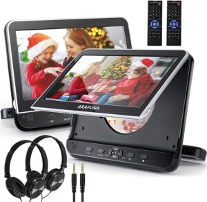 Dual Car DVD Player with Headrest Mount, ARAFUNA Two Headrest DVD Players
