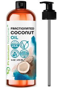 Fractionated Coconut Oil, Skin Moisturizer, Natural Carrier Oil, Therapeutic, Odorless, 16 Oz by Premium Nature by Premium Nature