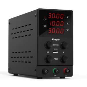 Kungber DC Power Supply Variable, 30V 10A Adjustable Switching Regulated DC Bench Linear Power Supply