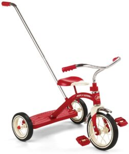 Radio Flyer Classic Tricycle with Push Handle, Red, 10-12 Inches