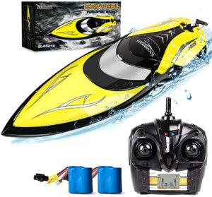 Remote Control Boat [Upgraded 2021] - SHARKOOL 2.4 GHZ 25+ MPH RC Boat, Fast Remote Controlled Boat